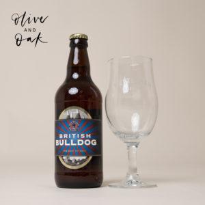 Westerham Brewery British Bulldog Ale Bottle & Stemmed Glass